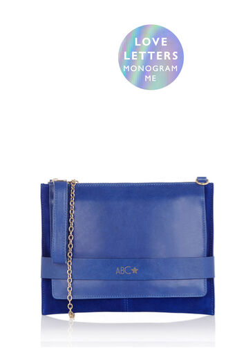 Oasis, MONOGRAM ENVELOPE CLUTCH BAG Cobalt Blue 0