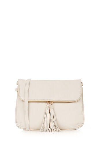 Oasis, Suede Cross-Body Bag Off White 0