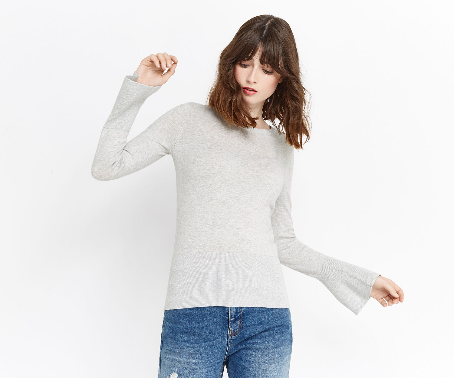Oasis, Fluted sleeve knit Mid Grey 1
