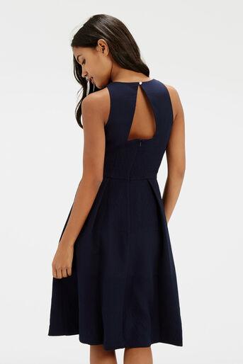 Oasis, Jacquard Midi Dress Navy 3