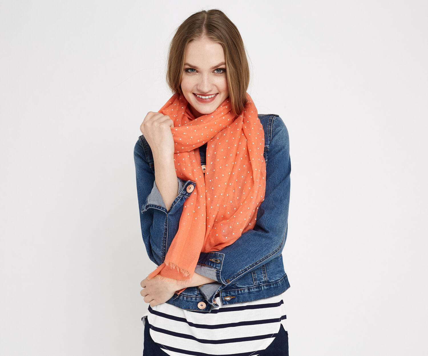 Oasis, PUFF SPOT SCARF Coral 1