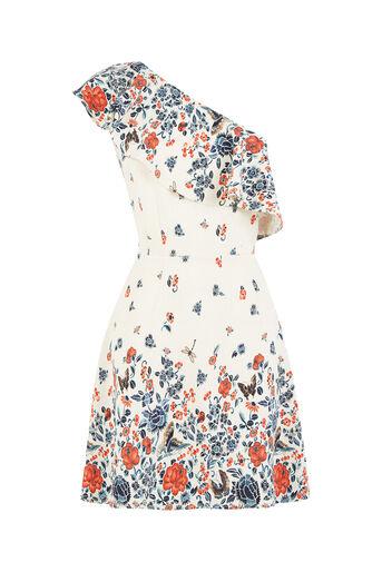 Oasis, V&A One Shoulder Dress Multi 0