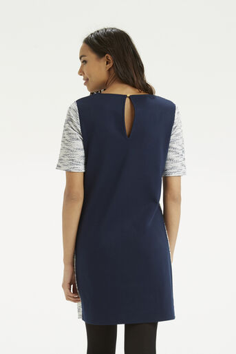 Oasis, Fringed Tweed Dress Navy 3