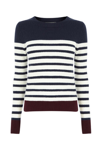 Oasis, Stripe crew with buttons Multi Red 0