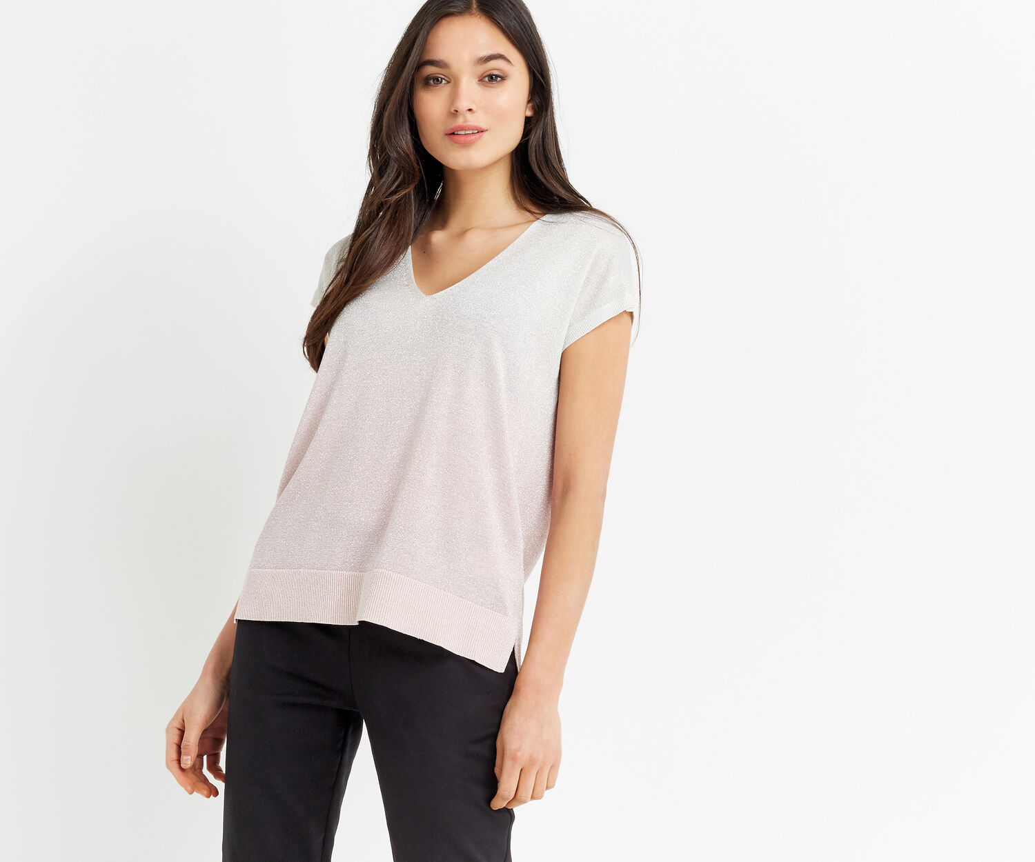 Oasis, Ombre sparkle tee Pale Pink 1