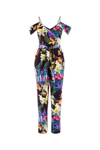 Oasis, TROPICAL JUMPSUIT Multi Blue 0