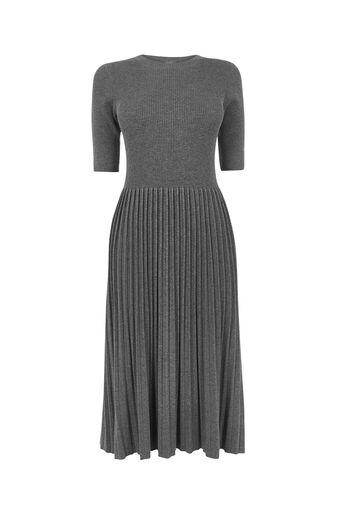 Oasis, Pleated midi dress Mid Grey 0