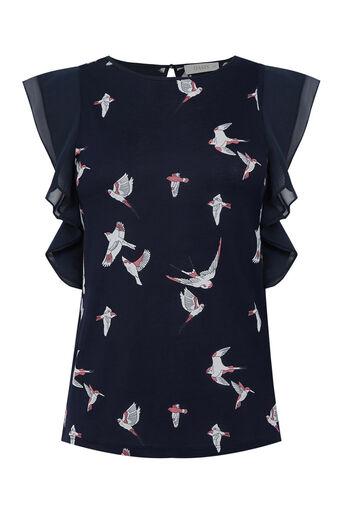 Oasis, Bird Print Lace Trim T-Shirt Navy 0