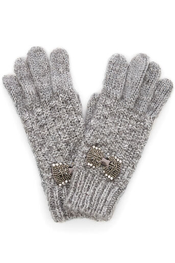 Oasis, BOW GLOVES Mid Grey 0