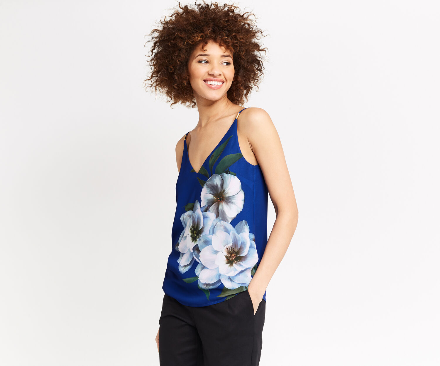 Oasis, WILD FLORAL CAMI Mid Blue 1