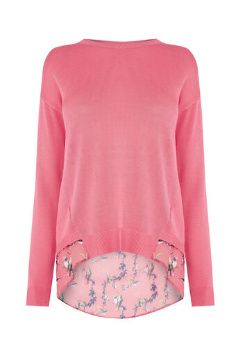 Oasis, Lotus bird woven mix knit Bright Pink 0
