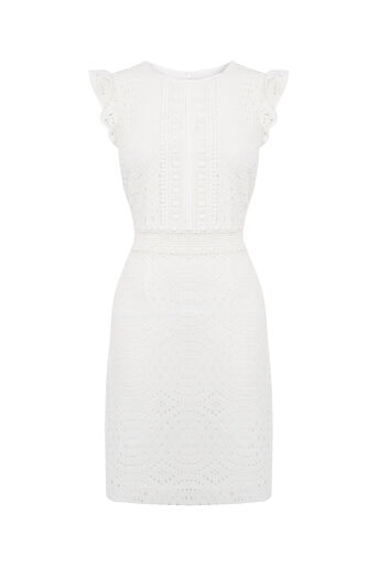 Oasis, Geo Patched Lace Dress Off White 0