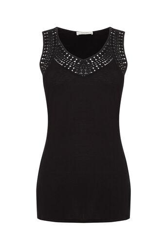 Oasis, Embroidered Trim Vest Black 0