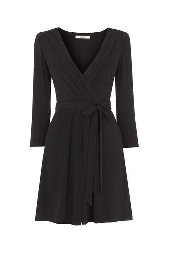 Oasis, Wrap Dress Black 0
