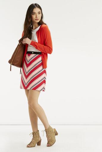 Oasis, Chevron Diamond Stripe Skirt Multi Red 2