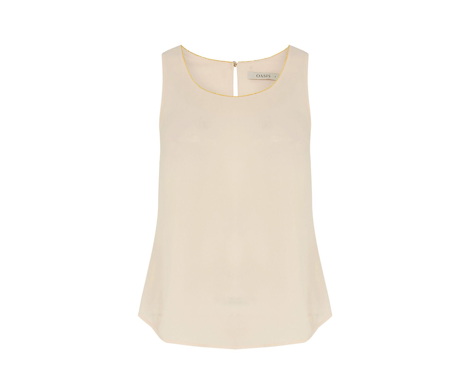 Oasis, Embellished Trim Vest Light Neutral 0