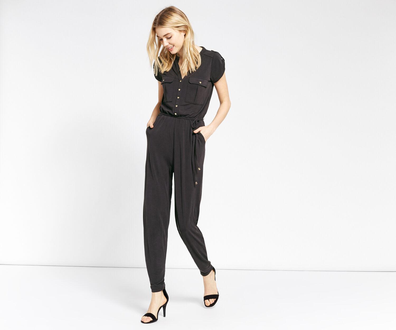 Oasis, Combi-pantalon en cupro avec manches militaires Gris foncé 1