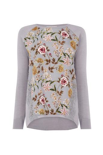 Oasis, Opium Lace Wovenfront Knit Multi Grey 0