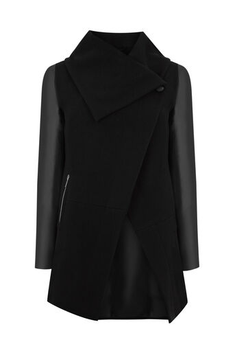 Oasis, Cara Drape Coat Black 0
