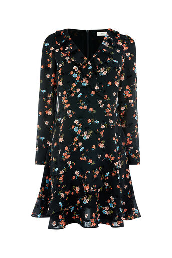 Oasis, FLOCKED ROSSETTI DRESS Multi Black 0