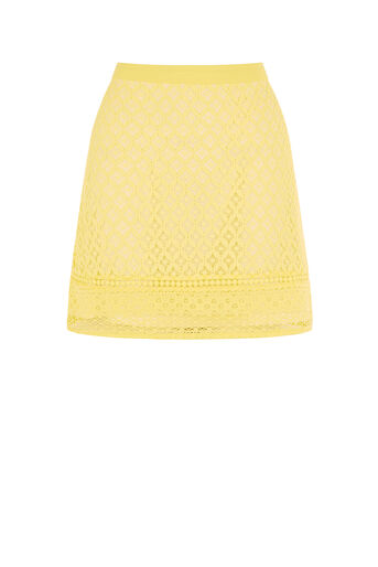 Oasis, LACE MINI SKIRT Bright Yellow 0
