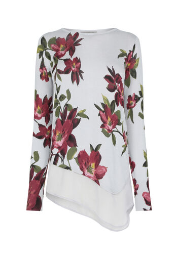 Oasis, Painted rose asymmetric knit Mid Grey 0