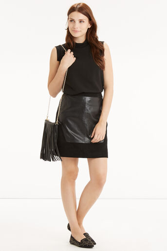 Oasis, Patched Suede & Leather Skirt Black 2