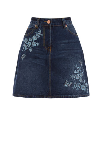 Oasis, Embroidered denim skirt Dark Wash 0