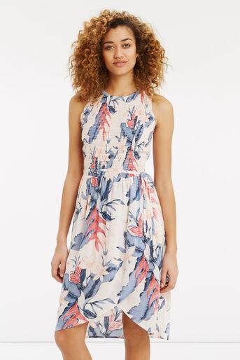 Oasis, Tropical Fancy Smocked Dress Multi Pink 1