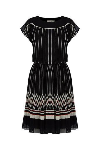 Oasis, Pleat Stripe Dress Multi Black 0