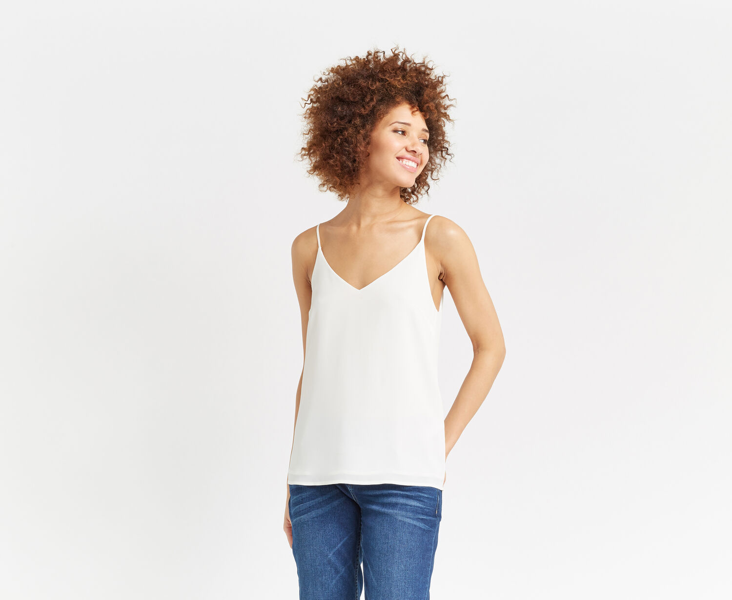 Oasis, V Neck Cami Off White 1