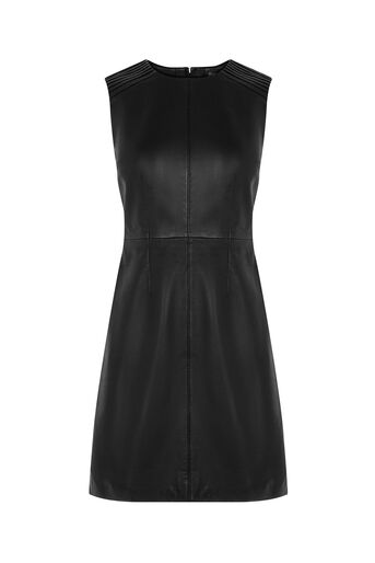 Oasis, LEATHER PLEATED SHIFT Black 0