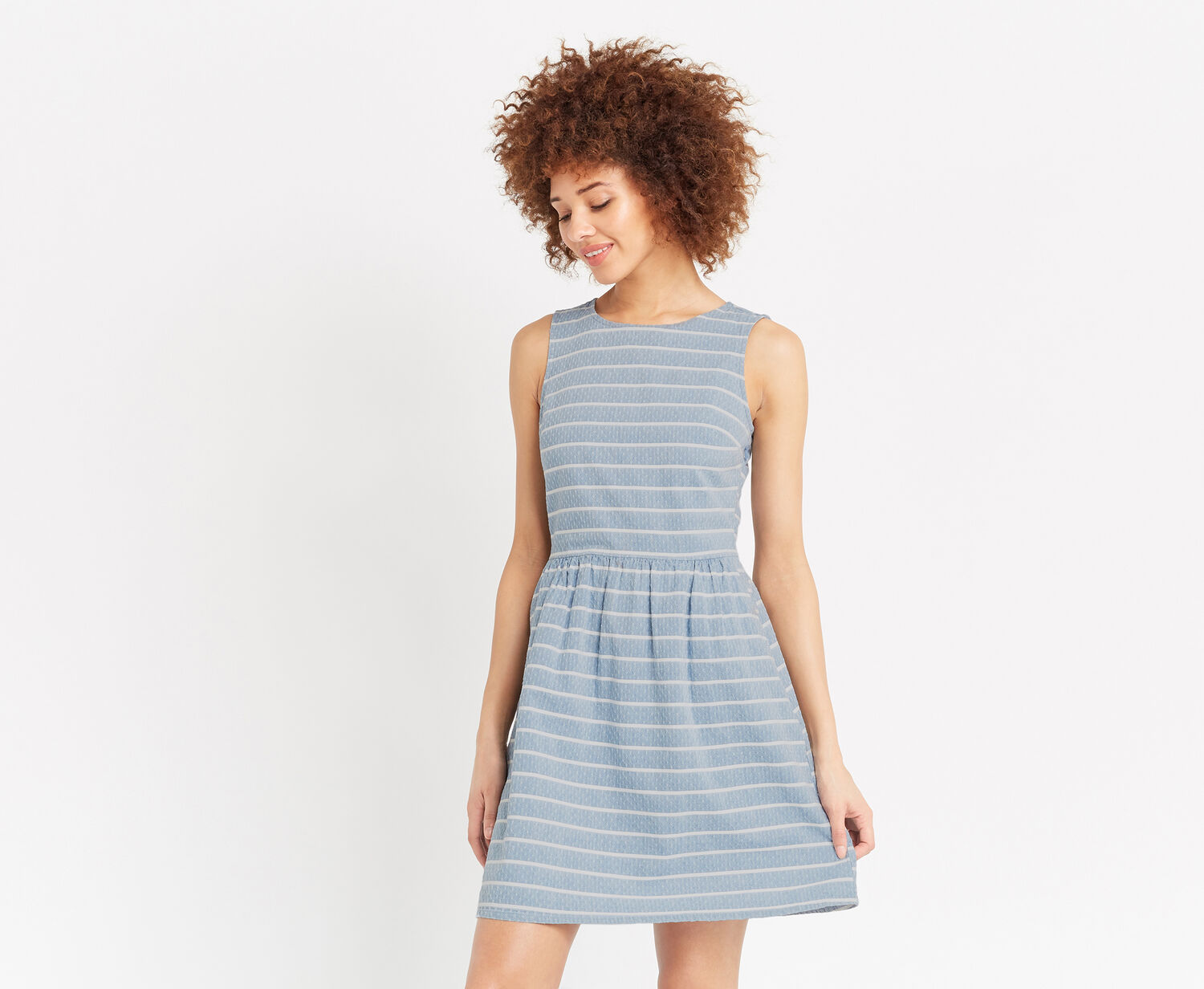 Oasis, STRIPE DOBBY SKATER DRESS Multi 1