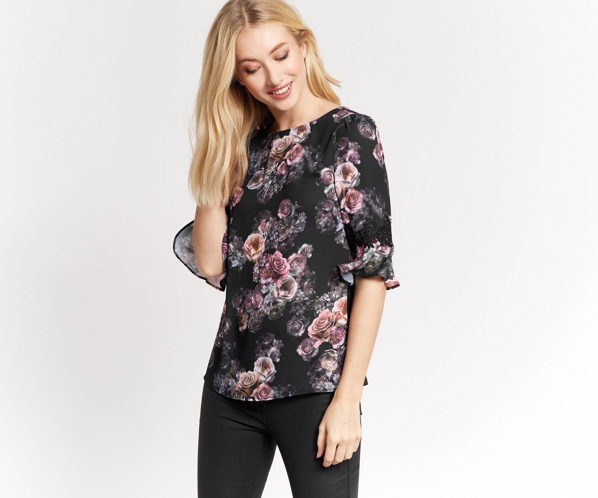 Oasis, GOTHIC BLOOM FLUTE SLEEVE TOP Multi Black 1