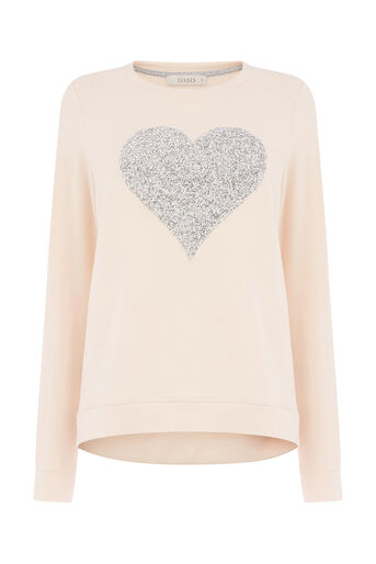 Oasis, EMBELLISHED HEART SWEAT Mid Pink 0