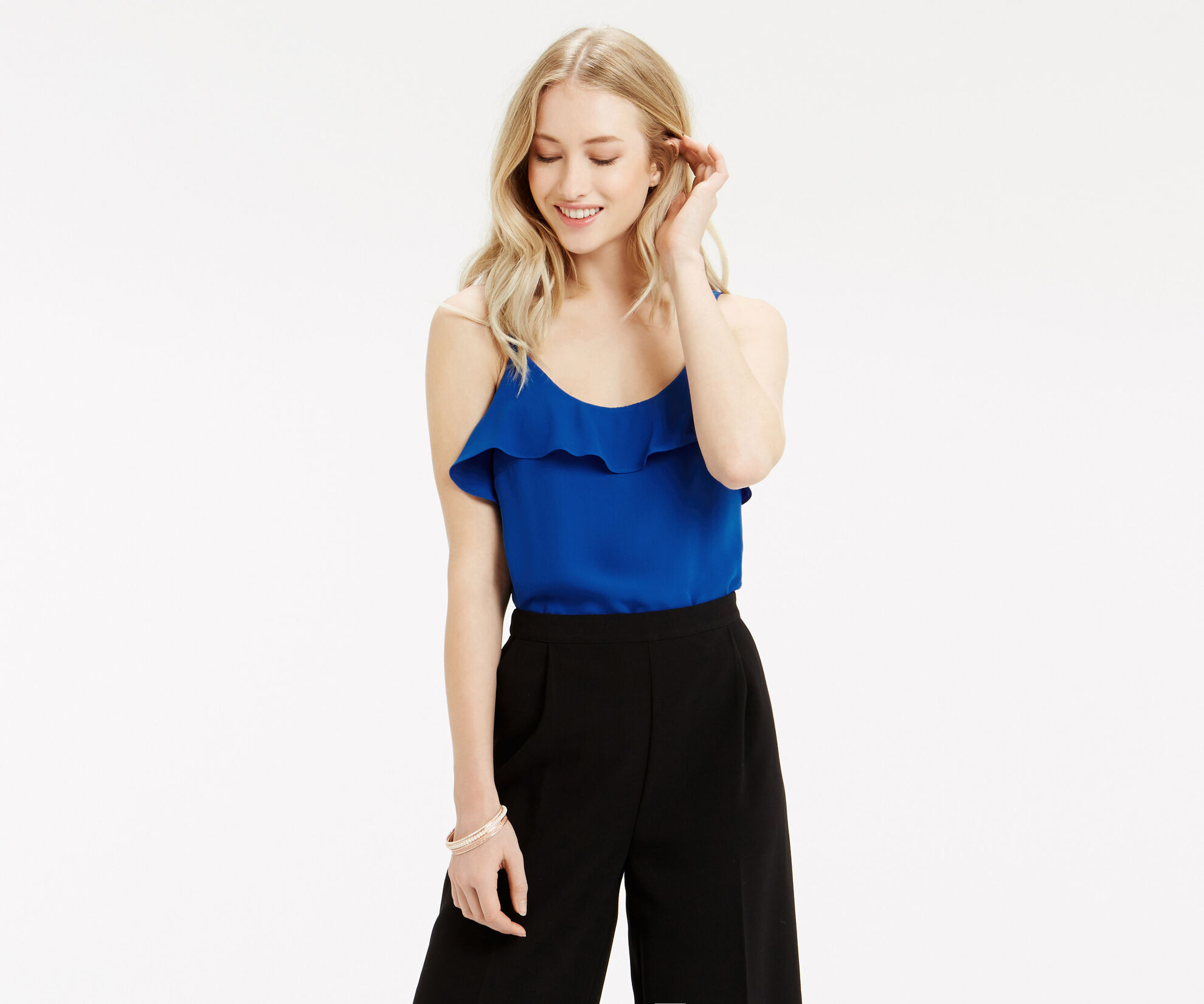 Oasis, Frill Front Cami Mid Blue 1
