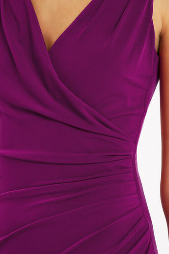 Oasis, Rouched V Neck Dress Mid Purple 4