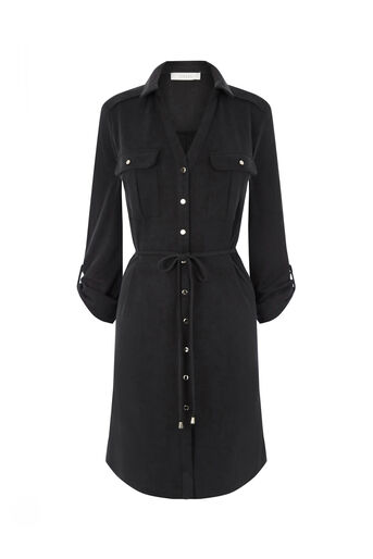 Oasis, TEXTURED SHIRT DRESS Black 0