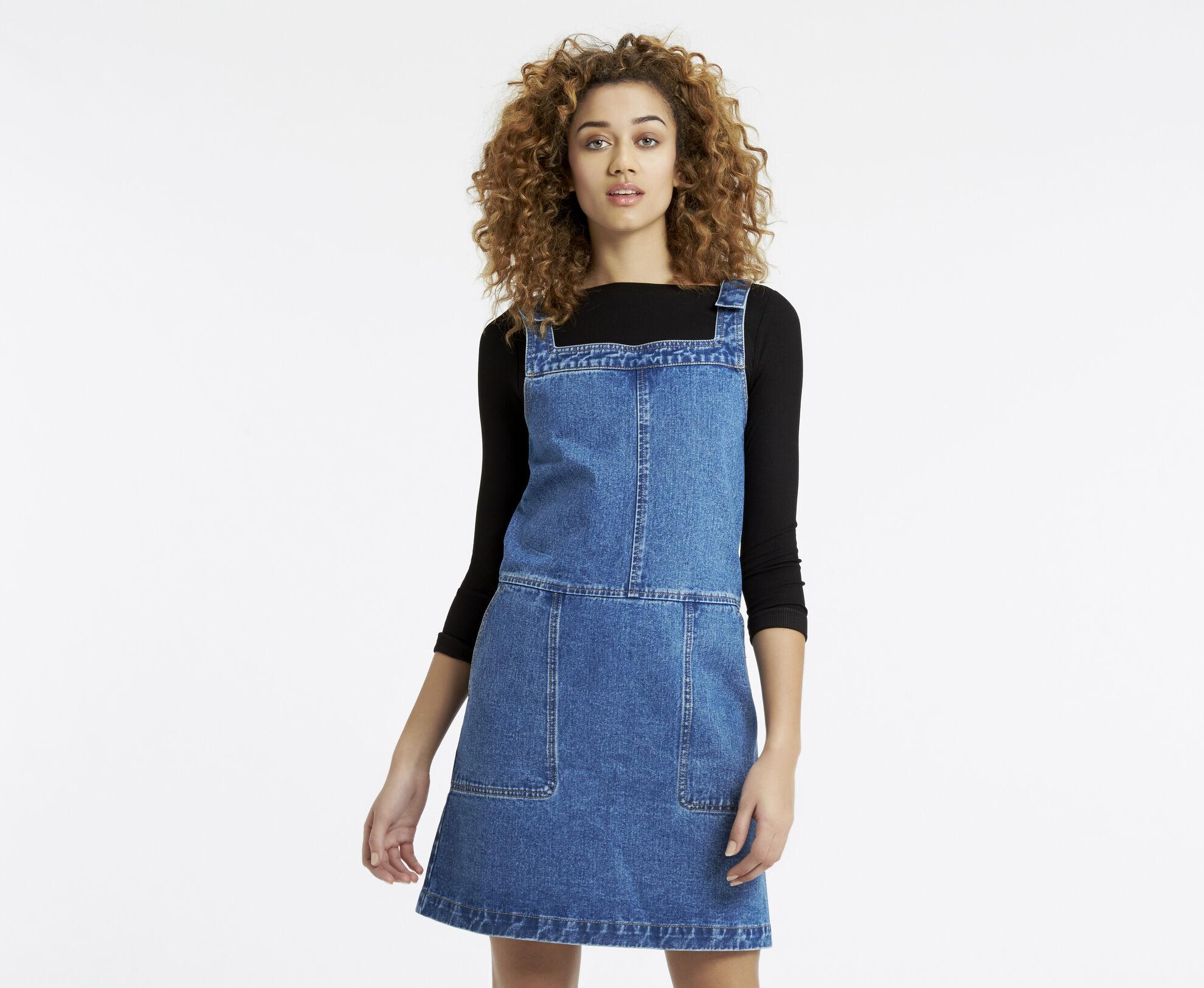Oasis, Darcy Denim Dungaree Dress Denim 1
