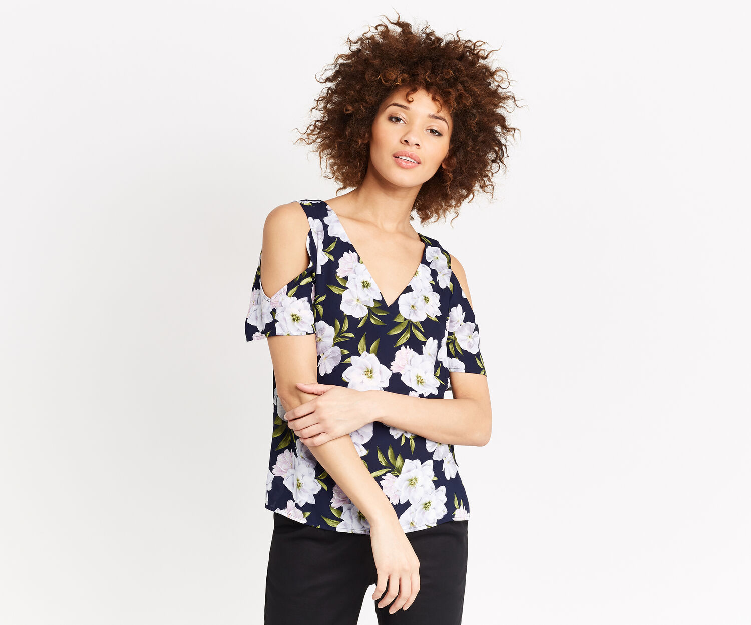 Oasis, WILD FLORAL V TOP Multi Blue 1