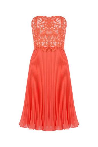 Oasis, Lace Bandeau Midi Dress Coral 0