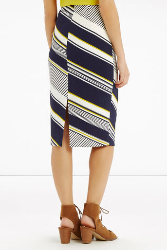 Oasis, Memphis Stripe Pencil Skirt Multi Blue 3