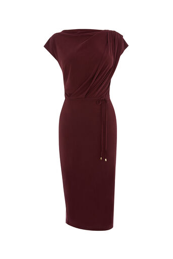 Oasis, SUPERSOFT DRAPE DRESS Burgundy 0