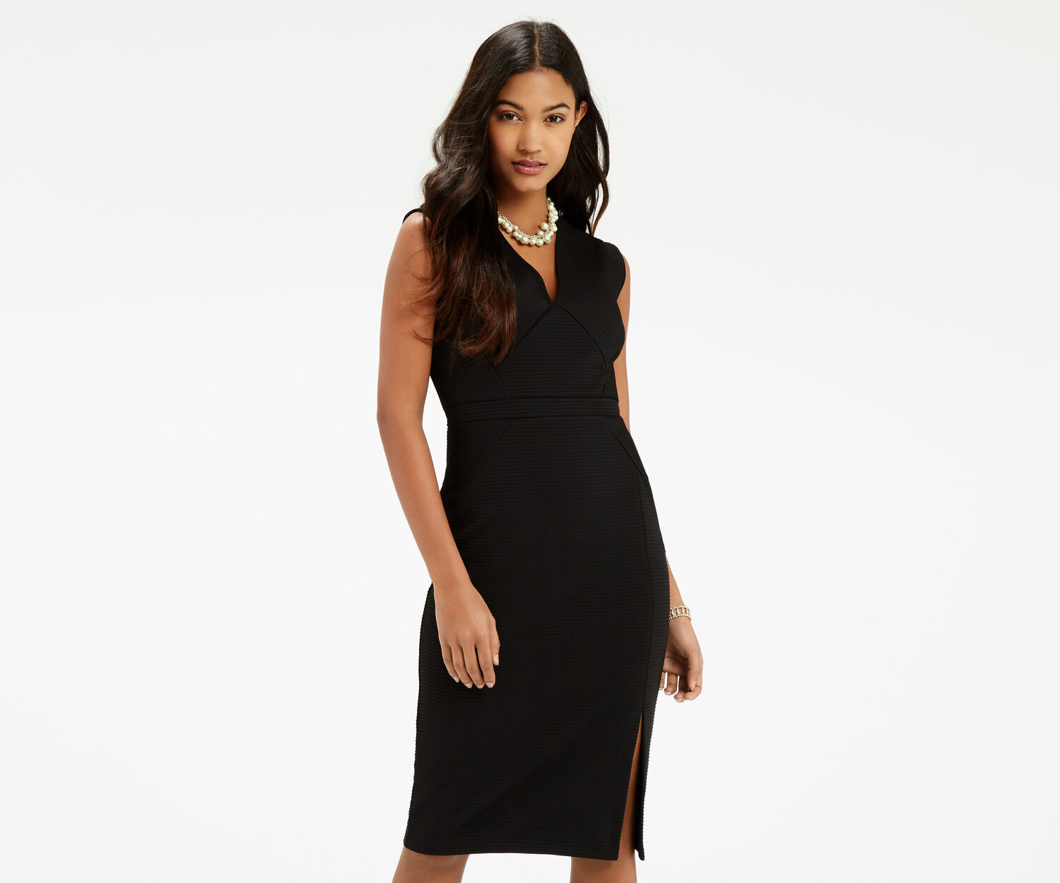 Oasis, Rib Pencil Dress Black 1