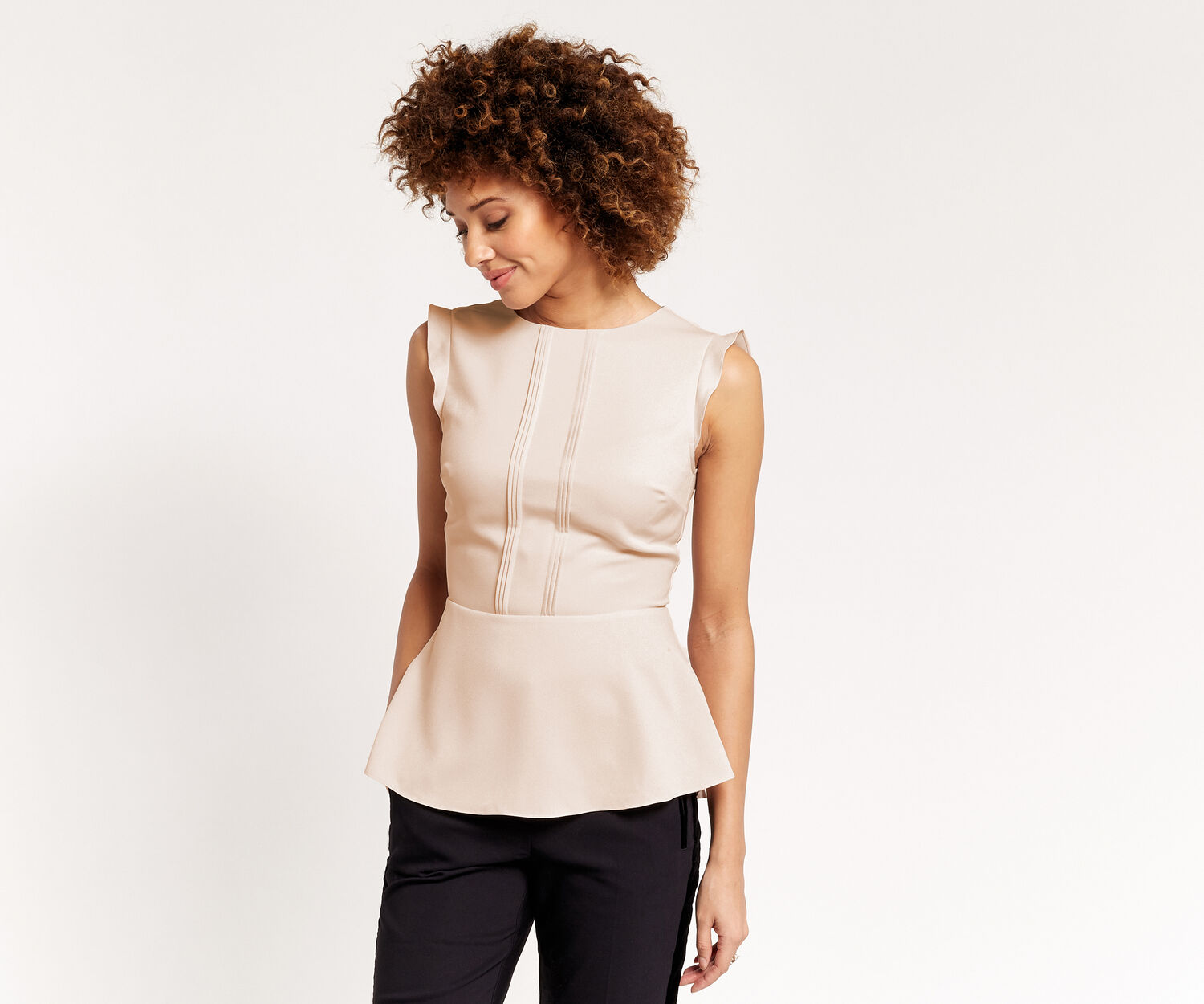 Oasis, PEPLUM TOP Off White 1
