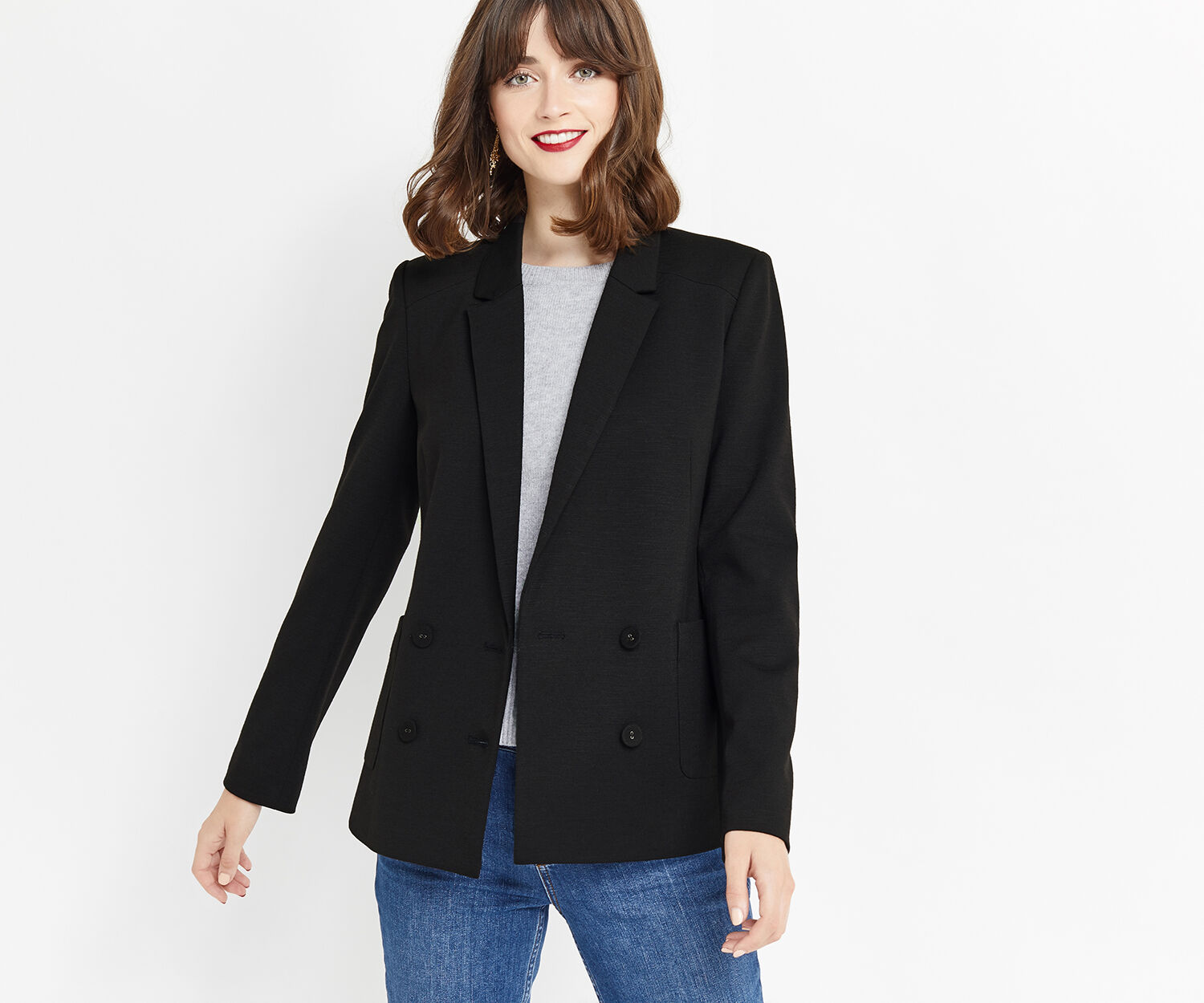 Oasis, DOUBLE BREASTED SLUB BLAZER Black 1