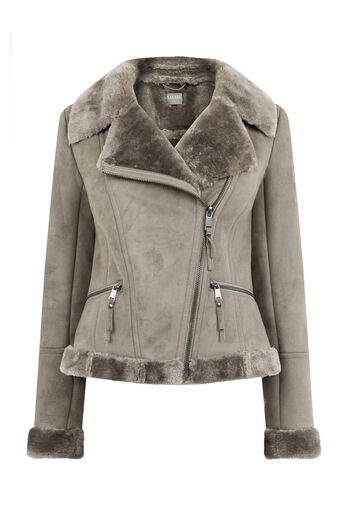 Oasis, FAUX SHEARLING JACKET Pale Grey 0