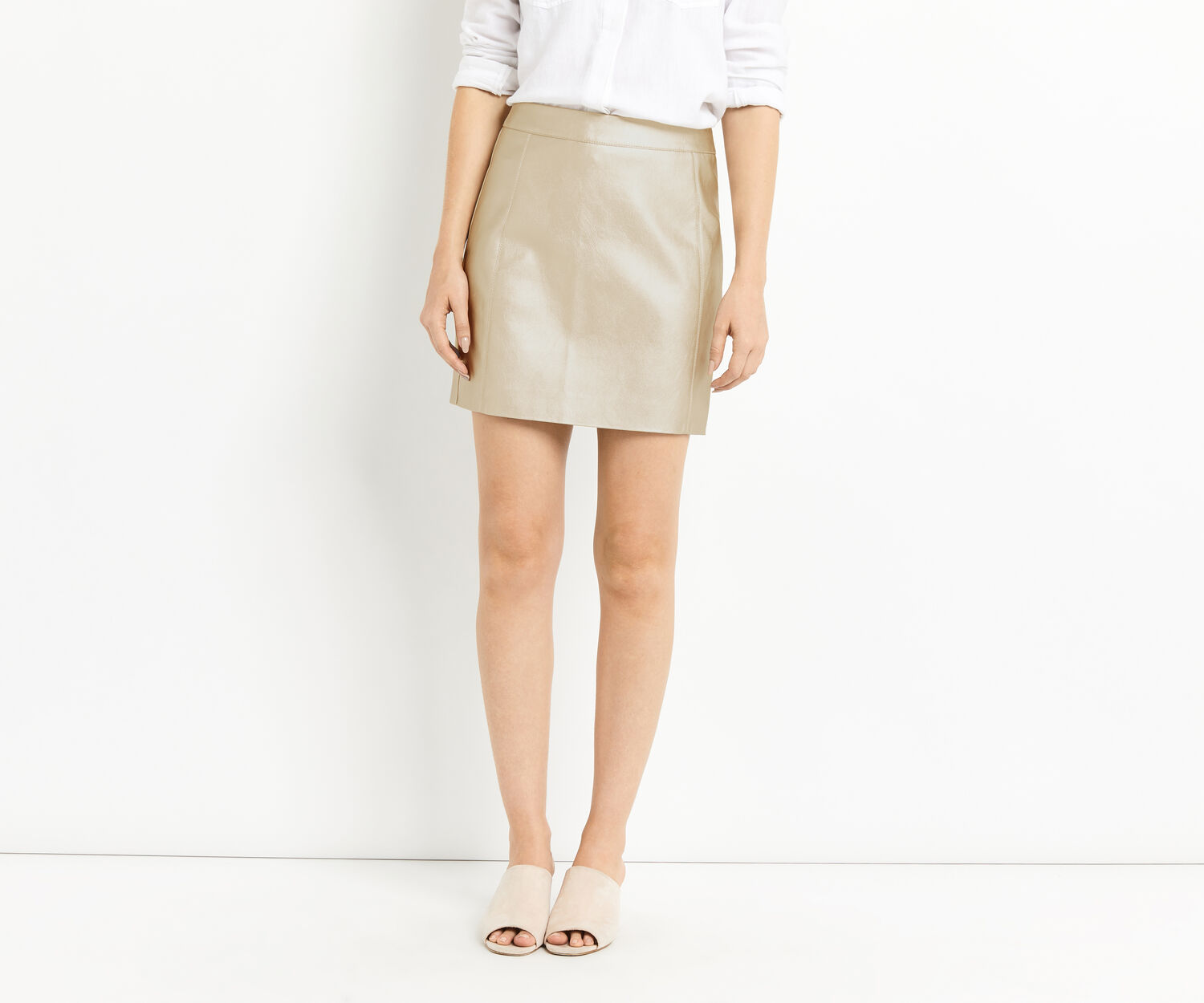 Oasis, FAUX LEATHER METALLIC SKIRT Gold 1