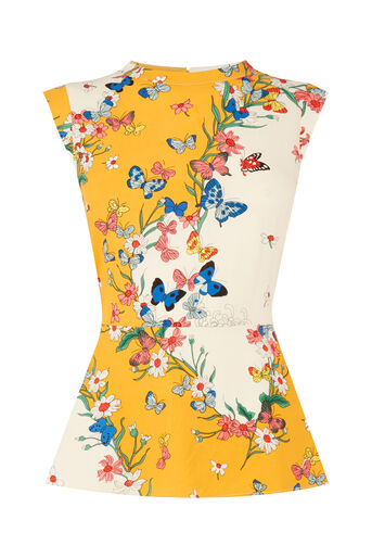 Oasis, Placement Butterfly Peplum Top Multi 0