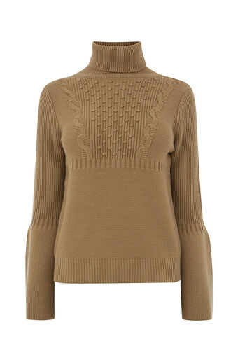 Oasis, BOBBLE CABLE FLARE SLEEVE KNIT Camel 0